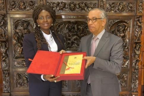 مصطفى فارس يستقبل مديرة النيابات العامة بجمهورية زامبيا  Fulata Lilian Shawa